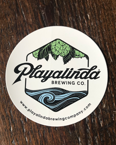 Playalinda brewing company 4″ sticker circle logo